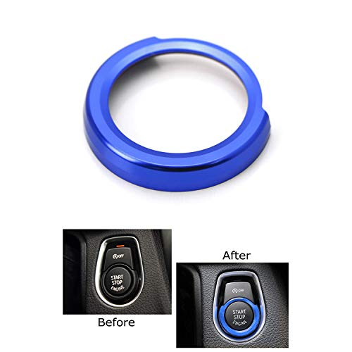 iJDMTOY Anodized Blue Aluminum Keyless Engine Push Start Button Decoration Ring Trim For BMW 2 3 4 Series X1 (F22 F30 F32 F34 F48)