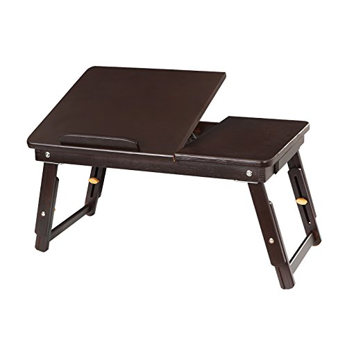 SONGMICS Multi Function Lapdesk, Adjustable Bed Tray, Bamboo Foldable Breakfast Table Tilting Top with Storage Drawer for Surfing Reading Writing Eating Pre-assembled Brown ULLD01Z