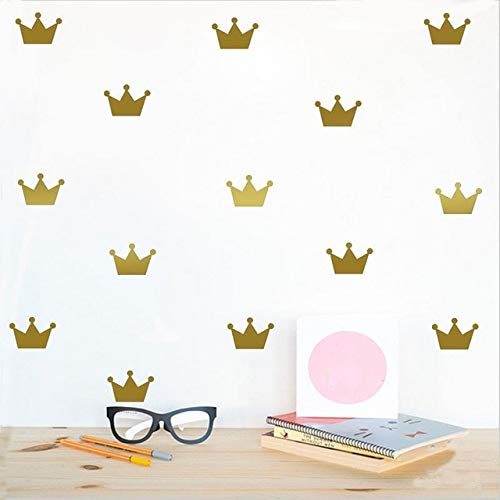 Artificial Flowers 15Pcs/Set Crown Wall Stickers Kid's Bedroom Decorate Wall Decals Princess Baby Room Wall Decor Vinyl Wall Sticker for Kids Rooms Home Decor-Gold