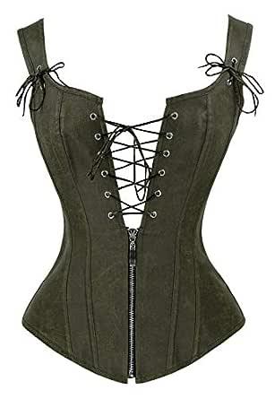 Charmian Women's Vintage Renaissance Lace Up Bustier Corset with Garters Olive XX-Large