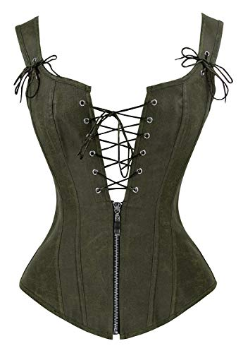 Charmian Women's Vintage Renaissance Lace Up Bustier Corset with Garters Olive Small