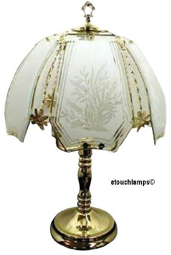 New Flowers Touch Lamp with Polished Brass Base