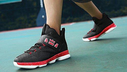 Frauen Männer Leistung Basketball Schuhe im Freien Sport Mode Turnschuhe von JiYe Schwarz Rot