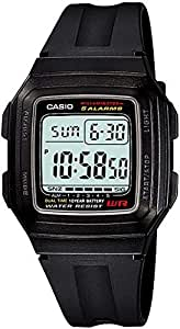 Casio Rectangle Digital Watch For Men, Black Band, F-201WA-1ADF