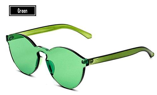 Sol del Vintage Gafas Color TL Amarillo Gafas de Caramelos Hombre Sunglasses Mujer Gafas de green Sol Mujer de RnqYS