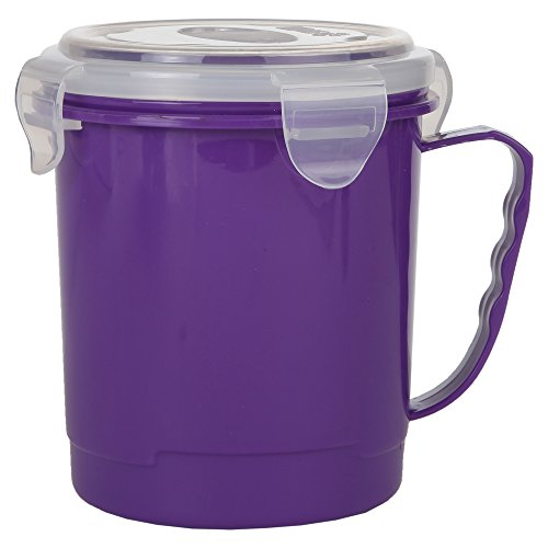 Home-X - Microwave Soup Mug with Secure Snap Close Vented Lid, 22 Ounce Mug Allows You to Heat and Eat Soups, Noodles, Hot Cereal and More in a Single Container, Purple