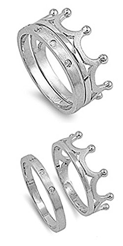 10 Ring Mm Satin - Double Accent Sterling Silver Round CZ Satin Finished Crown Ring set 10MM (Size 5 to 10), 6