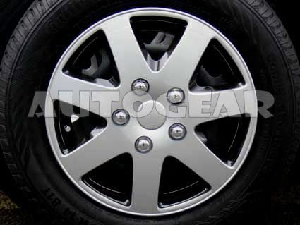 14 inch AP Silver Black 7 Spoke Alloy Look Car Wheel Trims Hub Cap Covers Set