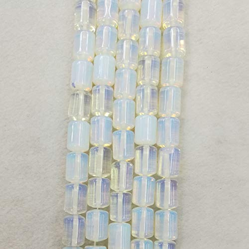 Calvas Wholesale Fashion Natural Opal Cylinder Beads opalite Stone Tube Beads 14mm10mm 50pcs for Jewelry Accessories