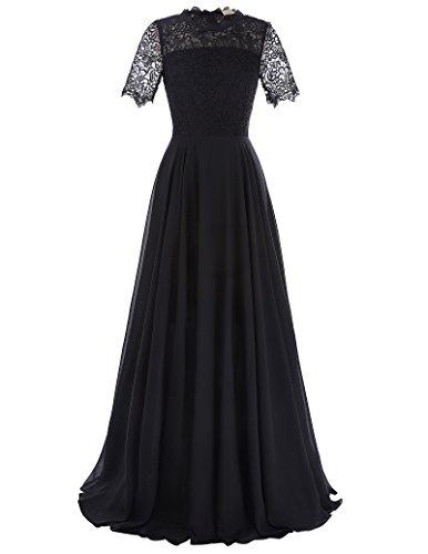 Women's Chiffon Lace Long Prom Dress Black Size (Chiffon Twist Dress)