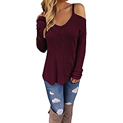 STYLEWORD Women's Off Shoulder Loose Casual Knitted Sweater Top Blouse(Wine,S)