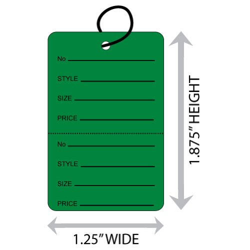 "Small (1.25"" X 1.875"") Dark Green Coupon Merchandise Tag with Perforation and String. Case of 2,000 Tags. - Green Coupon Merchandise Tag"