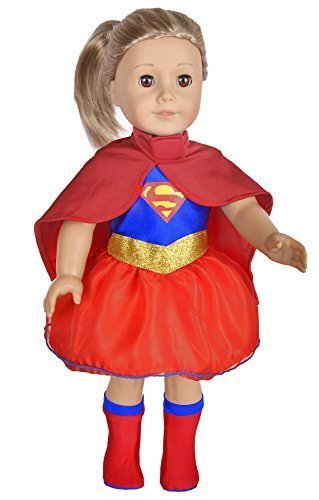 Ebuddy Handmade Super Girl Hero Cloak+ Dress+ Stocking Doll Clothes Fits 18 Inch Doll