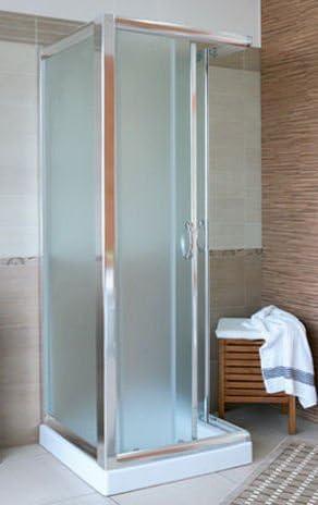 Mampara de baño de cristal, transparente mate y disp. 3 lados de ...
