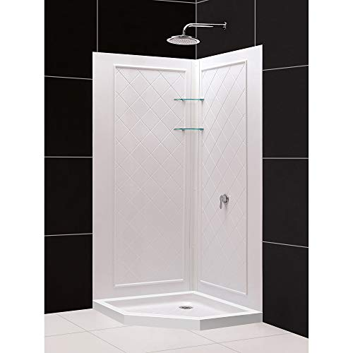 DreamLine 36 in. x 36 in. x 76 3/4 in. H Neo-Angle Shower Base and QWALL-4 Acrylic Corner Backwall Kit in White, DL-6044C-01