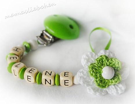 Mama liebchen Chupete Cadena Flor Verde con nombre Nombre ...