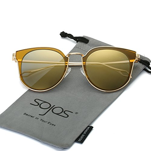 SojoS Fashion Polarized Sunglasses UV Mirrored Lens Oversize Metal Frame SJ1057 With Gold Frame/Gold Mirrored - Sunnies Sunglasses