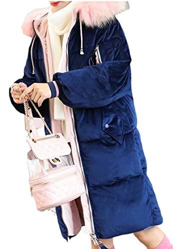 Giacche Warm Cappotti Militare Mid Con Blu Winter Outwear Cappuccio Ttyllmao Parka Da Donna length 81wq80