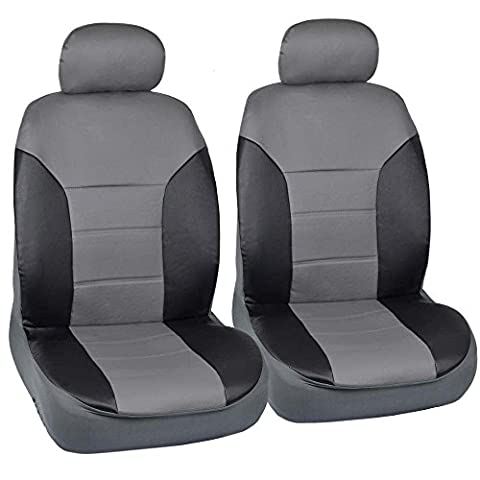 Motor Trend Black/Gray Two Tone PU Leather Car Seat Covers - Classic Accent - Premium Leatherette - Front (2012 Honda Fit Seat Covers)