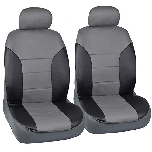 Motor Trend Black/Gray Two Tone PU Leather Car Seat Covers - Classic Accent - Premium Leatherette - Front Pair