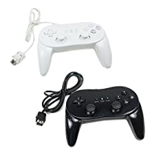 New Classic Pro Controller For Nintendo Wii (1pc black + 1pc white)
