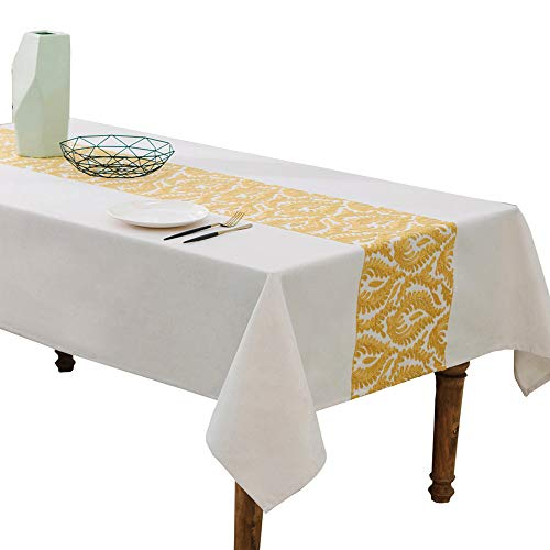 HWY 50 Cotton And Linen Blended Yellow Embroidered Tablecloths For Rectangle Tables Kitchen Decorative Table Cloths European Abstract Branches 60 x 84 inch, 1 Piece