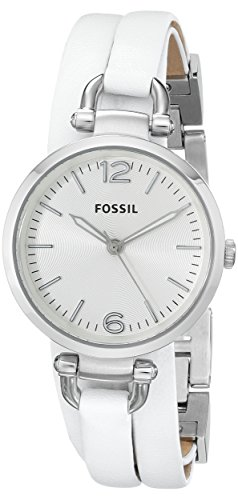 Fossil Women's ES3246 Georgia Stainless Steel Watch with White Wrap-Around Leather Band