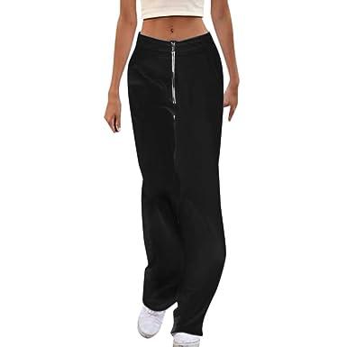 AmaSells - Pantalones de chándal para Mujer con Cremallera Suelta ...