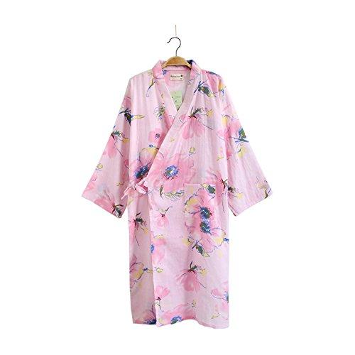 女性着物ローブ浴衣バスローブパジャマピンクフラワー