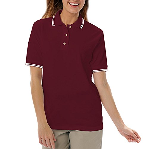 Blue Generation BG6205 - Ladies' Tipped Superblend Pique (Medium, Burgundy/Wht - Blue Generation Shirts Polo