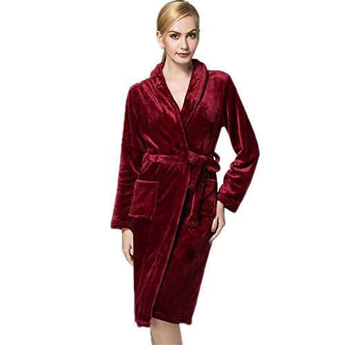 CHUNHUA Coral de invierno de las señoras paño grueso y suave caliente larga franela camisón pijamas, ropa de dormir y loungewear , b , average d