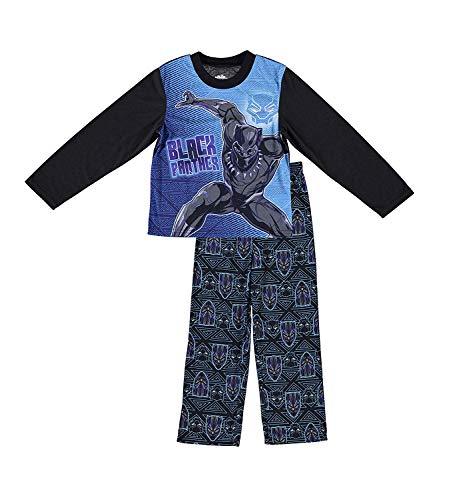 Marvel Boys Black Panther Pajamas - 2-Piece Long Sleeve Pajama Set (Black/Purple, 10)