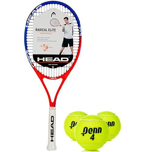 Tennis Ti Radical Racket - HEAD Ti Radical Elite Blue/Red Tennis Racquet (4 1/2 Grip) Kit or Set Bundled with (1) Can of 3 Penn Tennis Balls