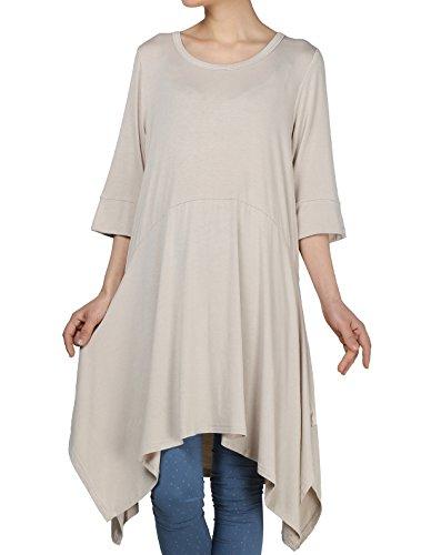 mordenmiss pañuelo dobladillo de la mujer túnica Tops Basic Camisa 12colores tamaño S-4X L,  Beige, S