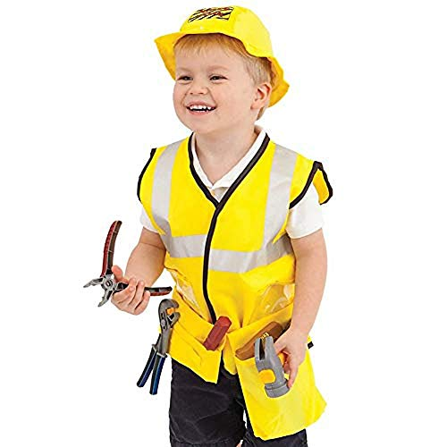 Dissytoys Construction Worker Costume Kids Engineering Role Play Dress up Set Educational Toy Holidays Christmas Gifts for 2 3 4 5 6 7 Year Old Kids Toddlers Boys Girls -