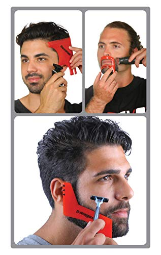 Revo Hair Goatee & Beard Trimmer Template - Mens Grooming Kit - Universal Size Haircut Shaving Set - Shaping Edge Up Barber Tool - Self Cut Stencil/Guide for Mustache & Hairline Lineup - Bundle Comb