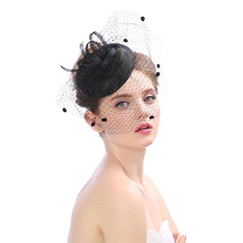 (XILALU Women Fascinator Mesh Kentucky Derby Hat Penny Ribbons Feathers Party Headdress Victorian Wedding Bridal Headpiece (Black))