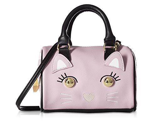 (Luv Betsey Johnson Harly Kitch Kitten Face Mini Barrel Crossbody Satchel Bag - Mauve)