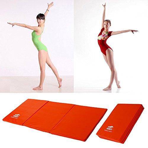 Z ZTDM 55'x24'x1' Folding Gymnastics Fitness Tumbling Mat Panel for Sit-up Aerobics Exercise Martial Arts Gym Yoga (Orange)