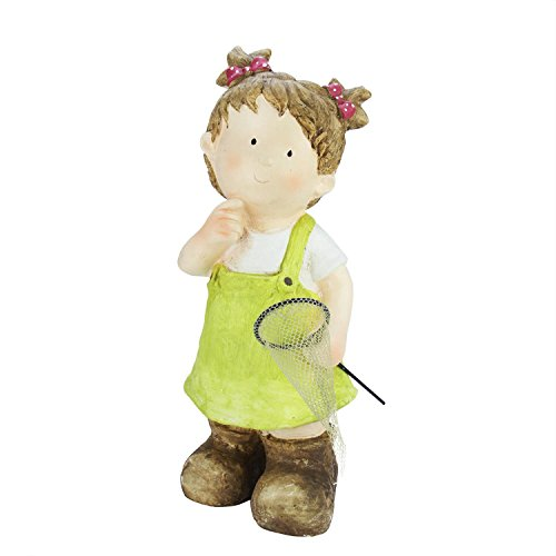 Northlight 18'' Young Girl Gnome with Butterfly Net Spring Outdoor Garden Patio Figure by Northlight