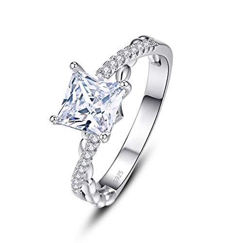 PAKULA 925 Sterling Silver Women Princess Cut Cubic Zirconia Infinity Knot Band CZ Wedding Ring Size 8 ()
