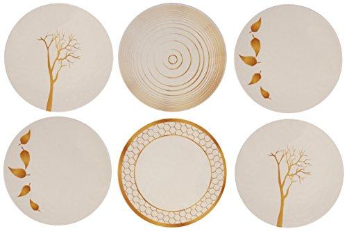 Nature Dinner - Melange 6-Piece 100% Melamine Dinner Plate Set (Gold Nature Collection ) | Shatter-Proof and Chip-Resistant Melamine Dinner Plates