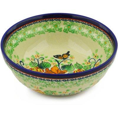 Polish Pottery Bowl 7-inch Butterfly Meadow UNIKAT