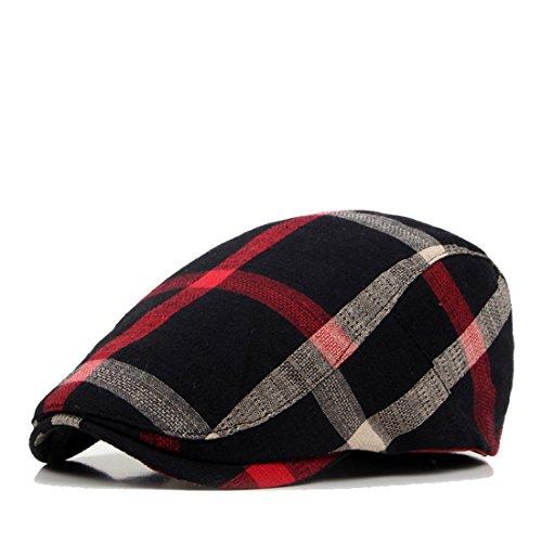 - LAROK WAZZIT Classic Black Plaid Cotton Flat British Cap Newsboy Cabbie Golf Gatsby Caps Adjustable Visor Beret