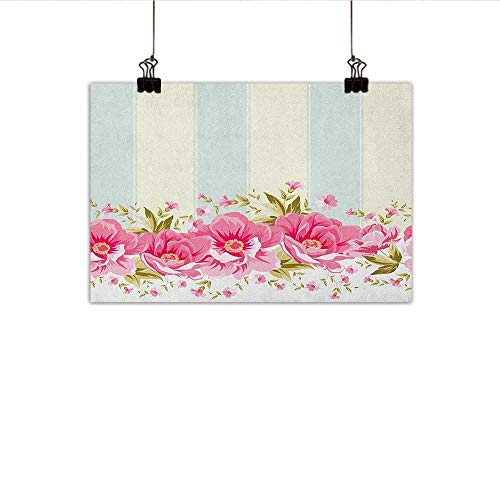 (Littletonhome Vintage Chinese Classical Oil Painting Pink Peony Border on Vertical Striped Tile Bridal Wedding Design for Living Room Bedroom Hallway Office 47