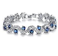 Feraco Jewelry Platinum Plated Bling Rhinestone Cubic Zirconia Bracelet For Women Sparkle Crystal Wrist Band Bangle Wedding Jewelry,Blue Silver