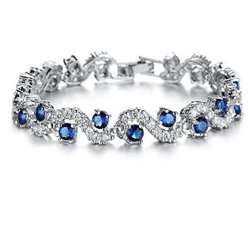 Feraco Blue Tennis Bracelet Women Cubic Zirconia Crystal Bangle Wedding Bridal Jewelry Set,6.69 (Make It Yourself Indian Costume)