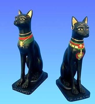 Set de 2 Estatuilla BASTET Figura decorativa, diseño de gato de la Diosa Egipto egipcia de música: Amazon.es: Hogar