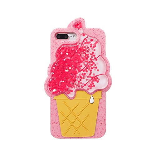 Squidgy Glitter Liquid Floating Pink Ice Cream Cone Case for iPhone 7+ 7Plus 8 Plus 5.5