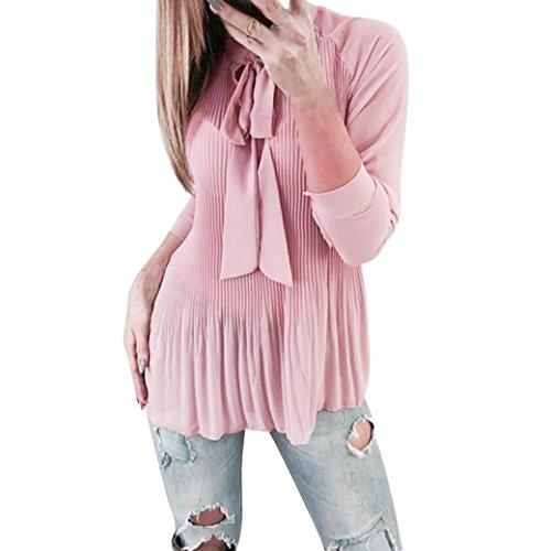 Femme Chic Femme Casual Beikoard Haut Chemise Femme Manches Papillon en Femme plissée Chemisier Tops Longues Dentelle à Tunique Haut Manche Lâche Rose Blouse Longue Sawqw5d